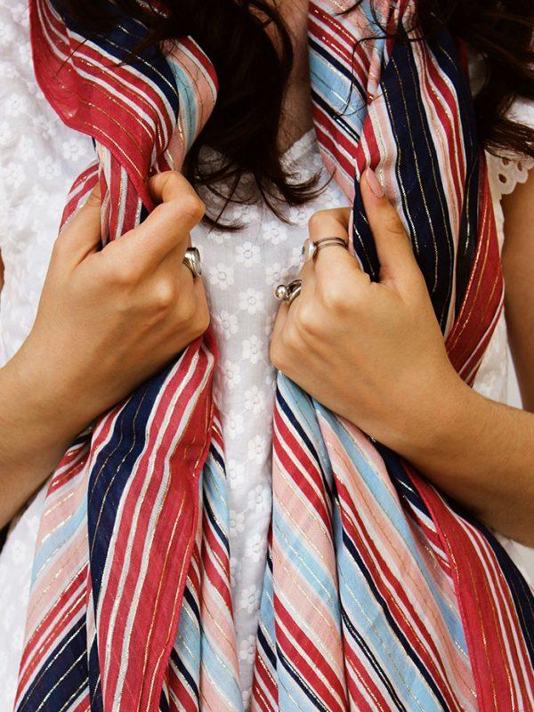 Étole coton motif bayadère