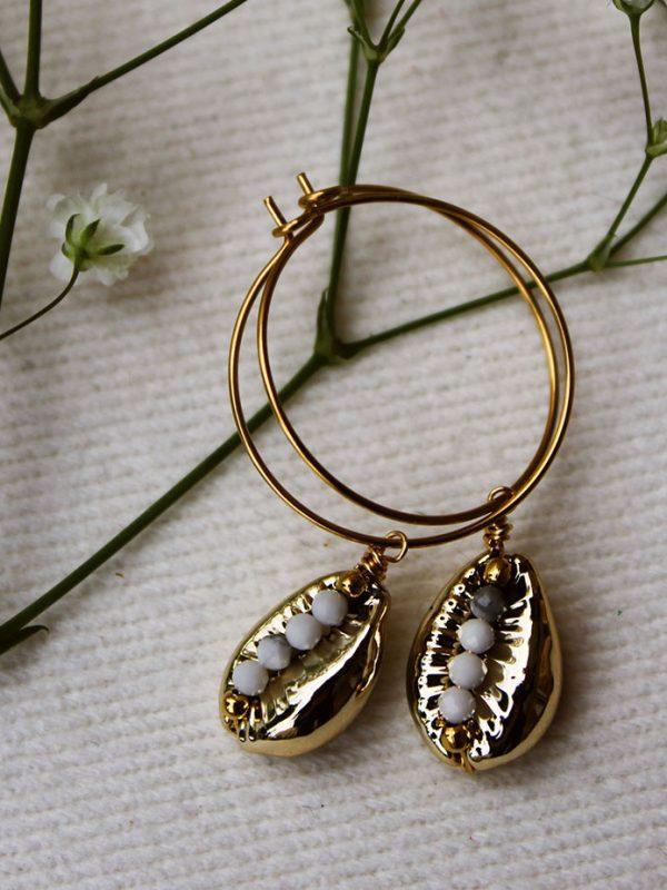 Créole acier coquillage doré et perle