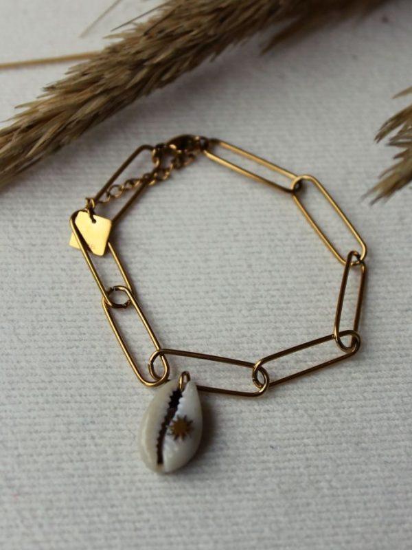 Bracelet acier chaine large et coquillage