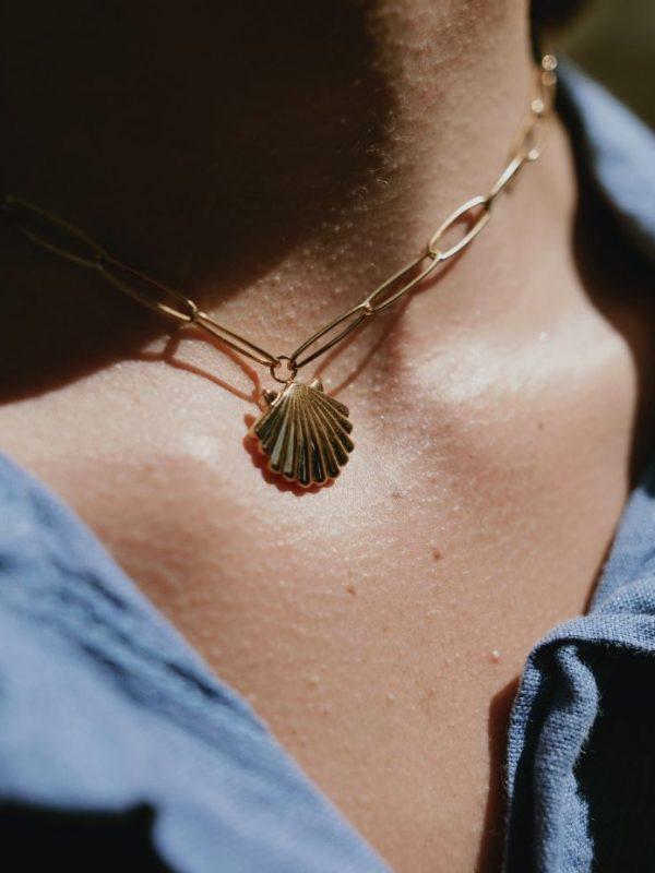 Collier acier doré et médaille coquillage