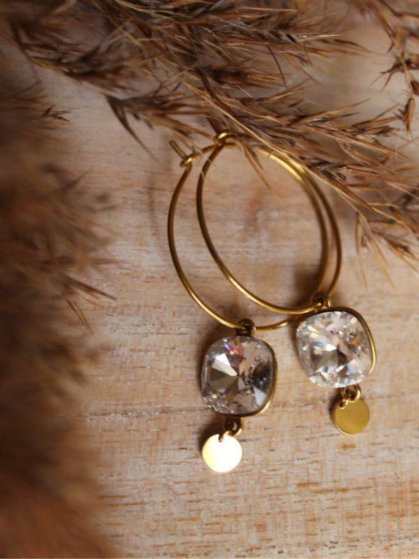 Créoles pendentif Swarovski acier doré à l'or fin