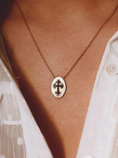 Collier plaqué or femme/ Collier croix