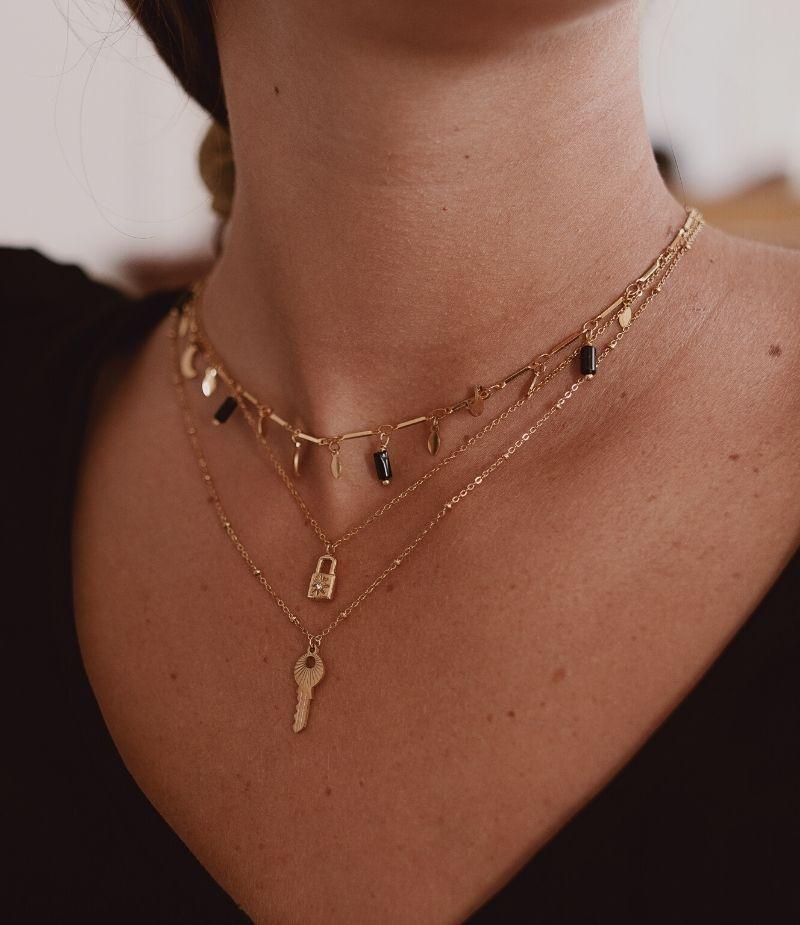 Collier double chaines dorées