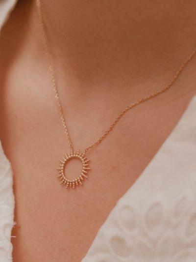 Collier Soleil / Bijoux en plaqué or 18 carats pour femme