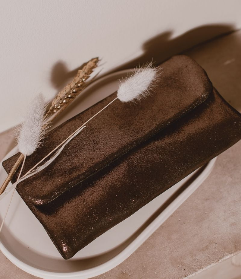 Portefeuille en daim noir Edgard pour femme