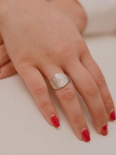 Bague avec des cristaux / Bijoux en Argent massif pour Femme