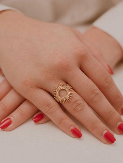 Bague Soleil / Bijoux en plaqué or 18 carats pour femme