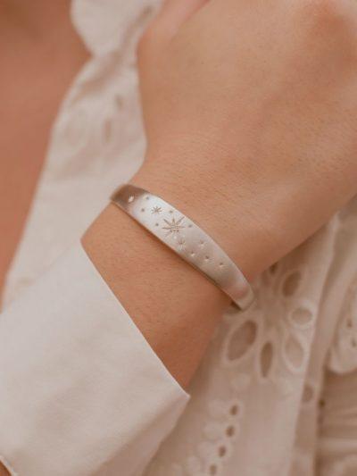 Bracelet Jonc avec des cristaux / Bijoux en Argent massif pour Femme