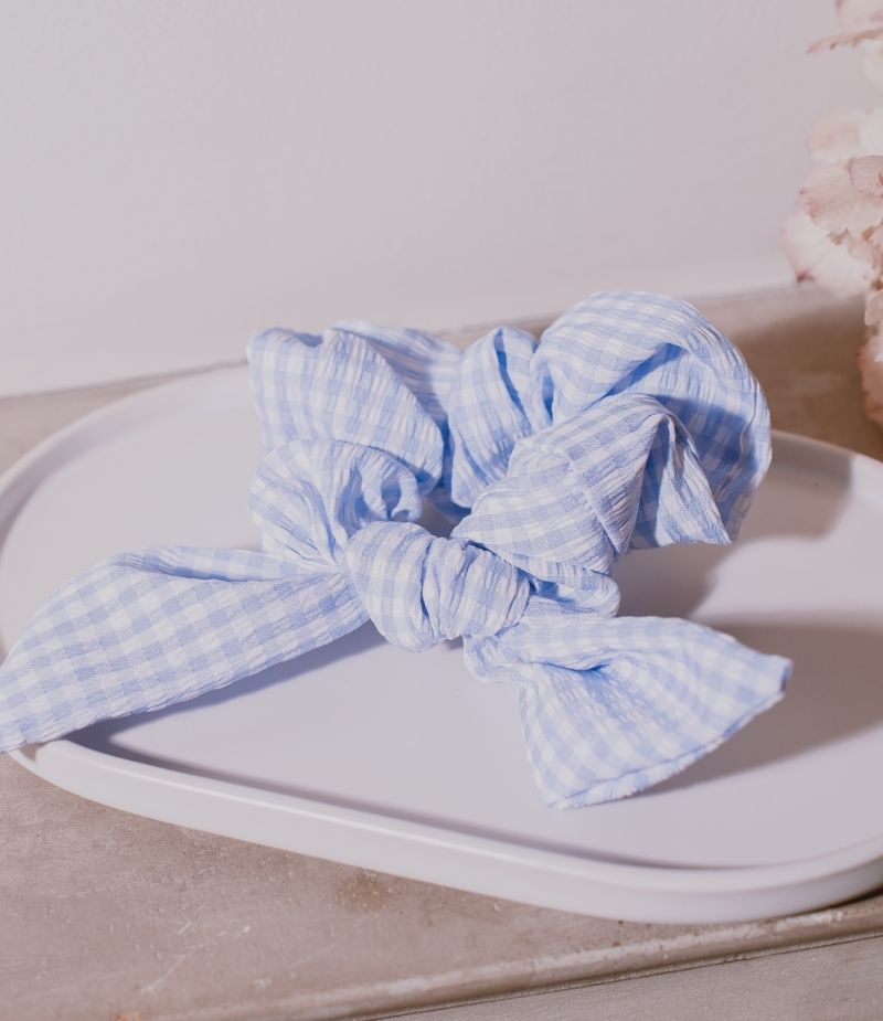 Chouchou pour cheveux Vichy pour femme - Bleu pastel