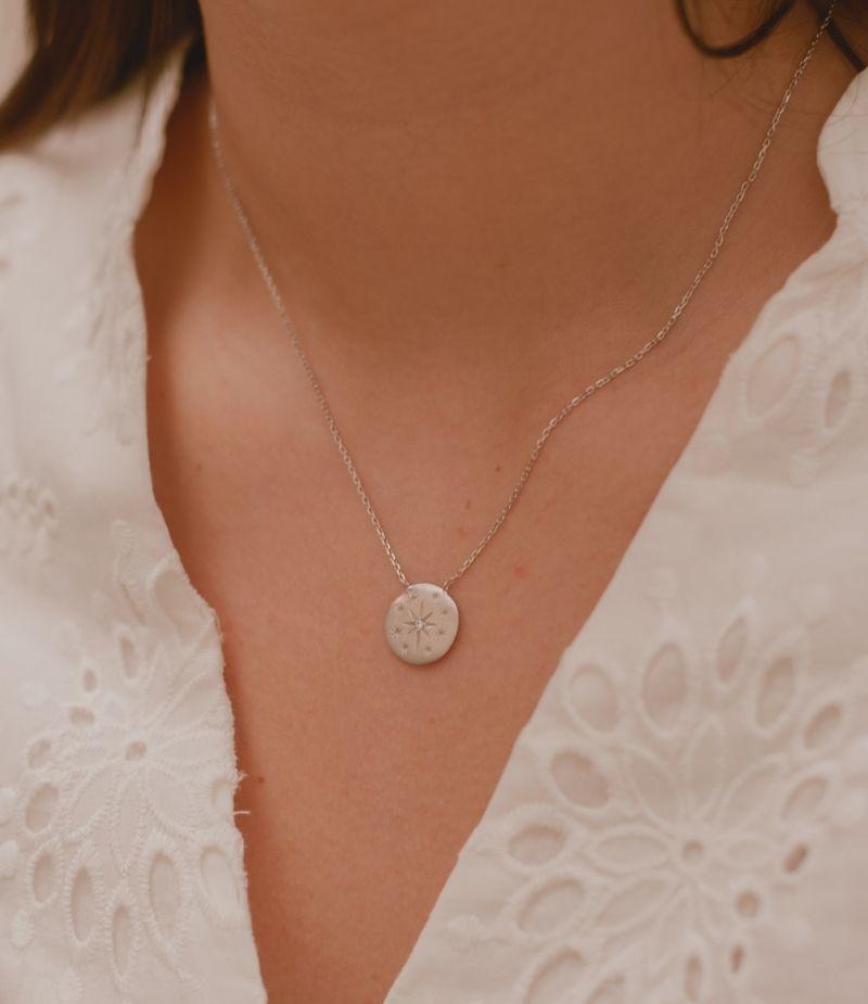 Collier avec des cristaux / Bijoux en Argent massif pour Femme