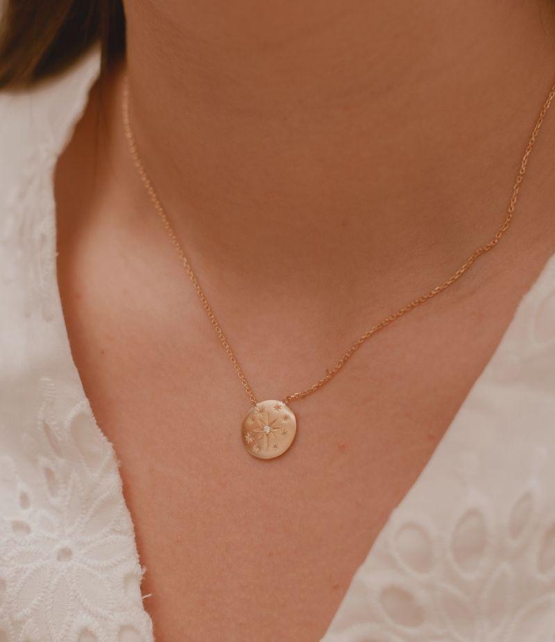 Collier avec des cristaux / Bijoux en plaqué or 18 carats pour Femme
