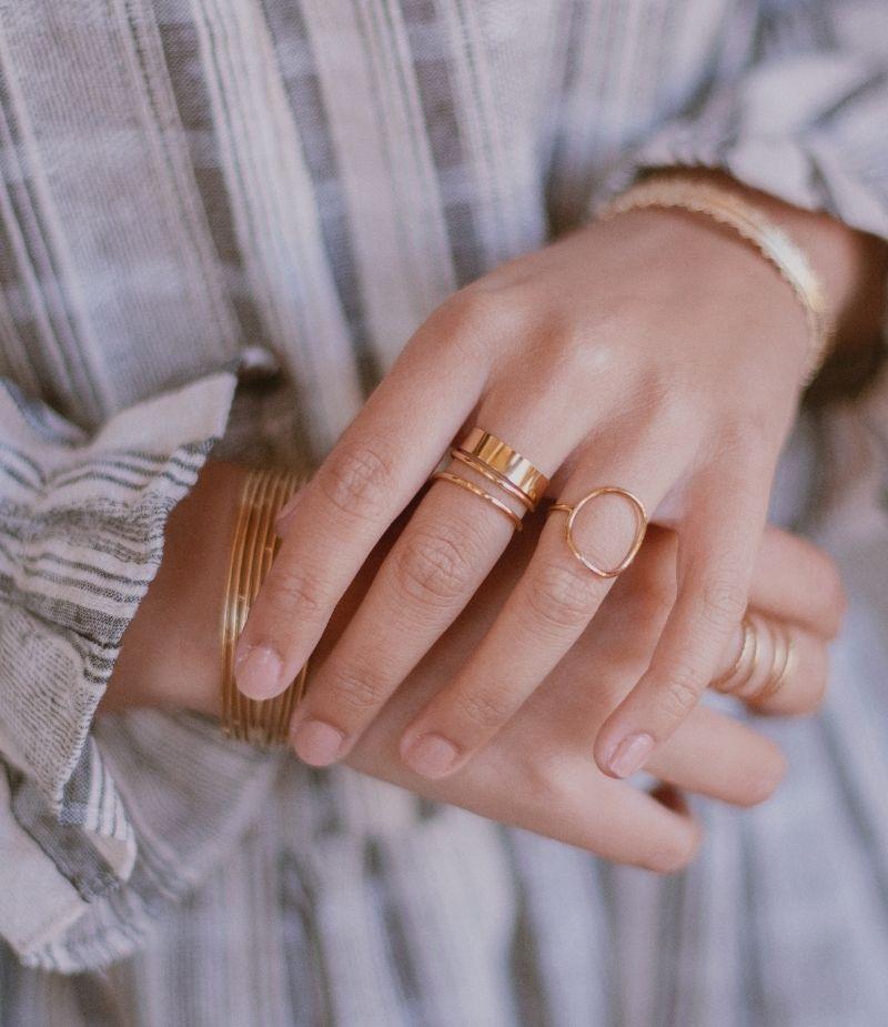 Bague fine acier inoxydable dorée à l'or fin