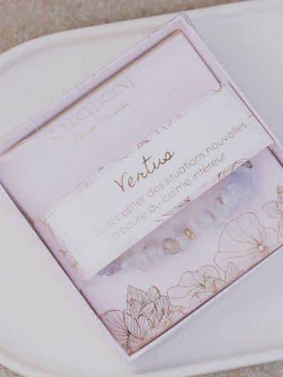 Boîte Bracelet Calcédoine Vertus bleue