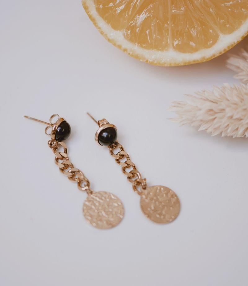 Boucle d'oreille chaine dorée à l'or fin 2