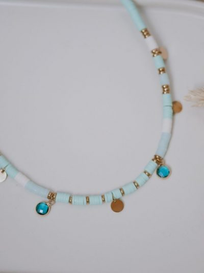 Collier pampilles surfer Turquoise femme  2