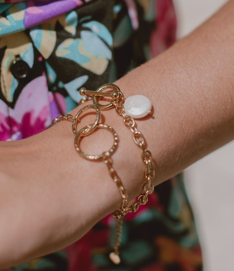 Bracelet perle femme acier doré