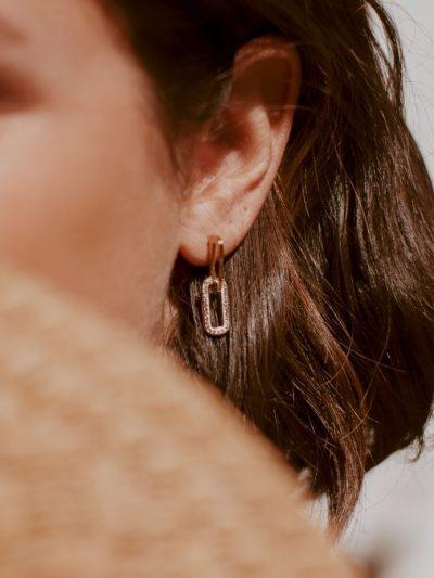 Boucles d'oreilles épingle strass avec fermetures puces 2