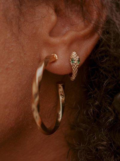 Boucles d'oreilles mini créoles serpent