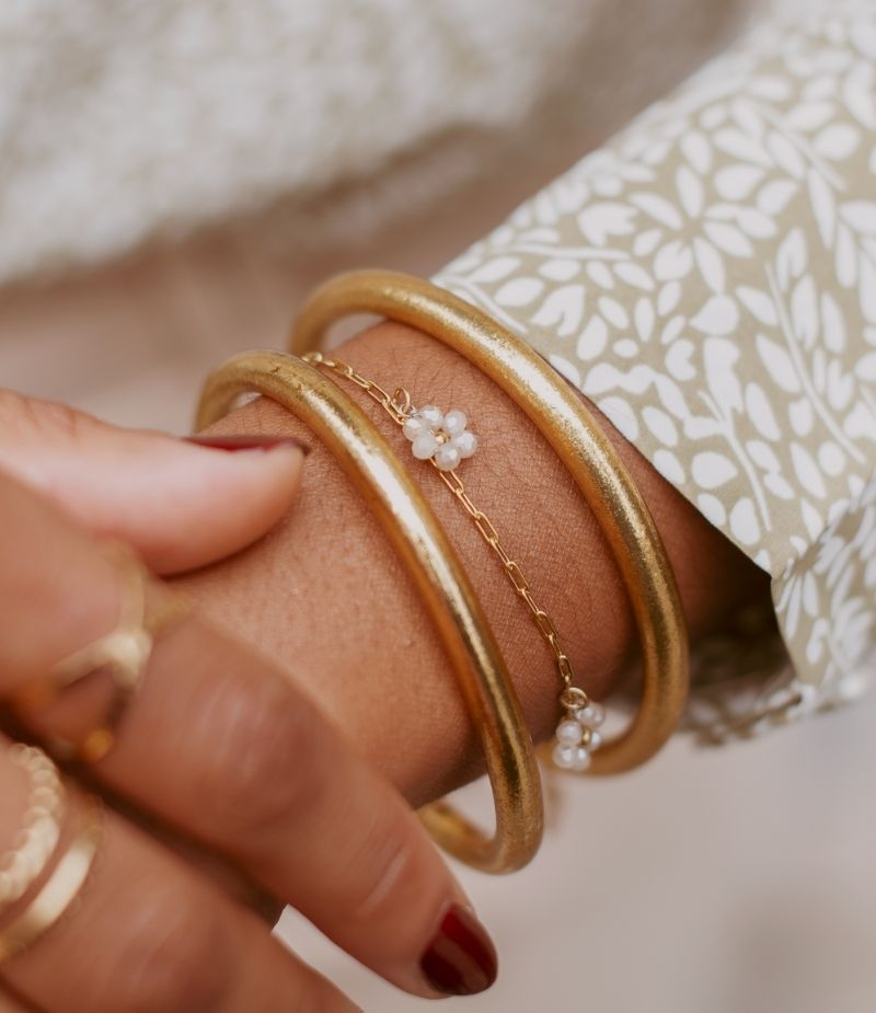 bracelet acier inoxydable doré perles blanches