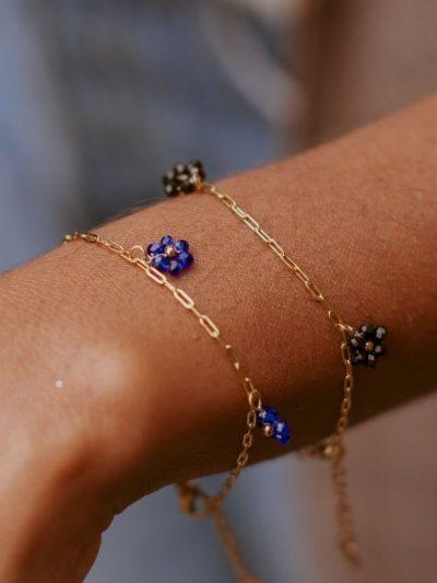 Bracelet acier inoxydable fleurs en perles