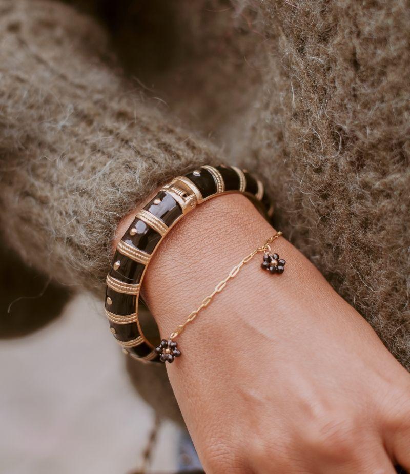 Bracelet acier inoxydable fleurs en perles noires