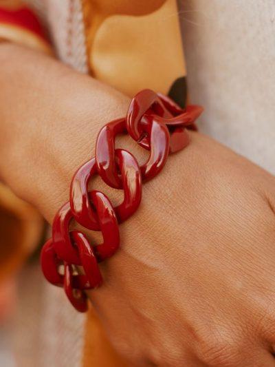 Bracelet fantaise grosse maille bordeaux