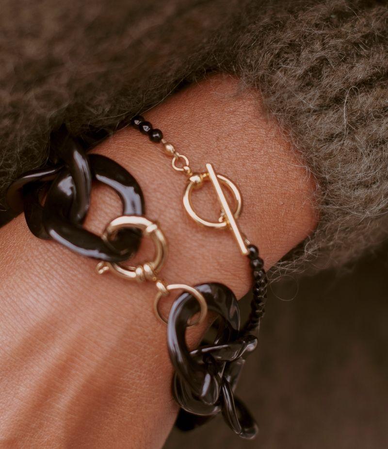 bracelet grosse maille noir