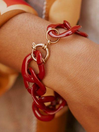 bracelet grosse chaine bordeaux