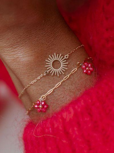 bracelet inoxydable fleurs en perles rouge