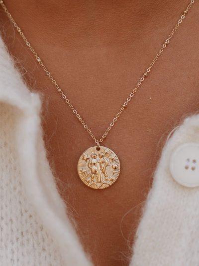Collier signe astrologique gémeaux acier inoxydable