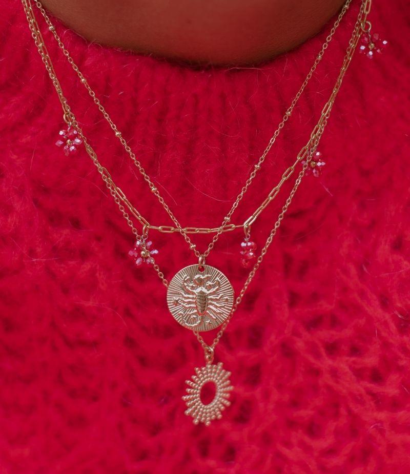 collier signe astrologique perle scorpion
